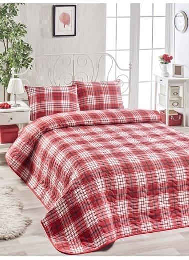 Eponj Home Kapitone Yatak Örtüsü Seti Tek Kişilik Burberry  Kırmızı